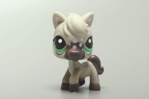 Littlest Pet Ship Gray Horse Green Eyes White Spots Brown Pony No.1820 Vintage