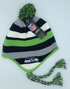 9c01537f6969f5 NFL Seattle Seahawks Youth Cuffed Tassel Winter Knit Aviator Hat Cap ...