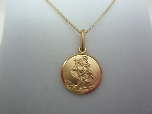 new-9ct-9k-yellow-gold-chain-18-034-and-st-christopher-circle-charm-pendant-medal