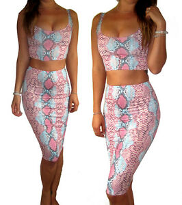 Peaches-amp-Cream-2-Piece-Skirt-Crop-Top-Co-Ord-Bodycon-Snake-Print-Size-UK-8-10-12