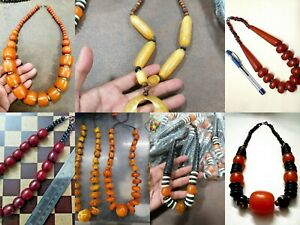 Tribal Banjara Necklace Tibetan Ethnic India Amber Look Resin Beads Bold