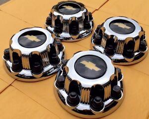 """CHEVY 8 Lug CHROME Center Cap For 16"""" Steel Wheel Rim Bolt On Hub Skin Set of 4"""