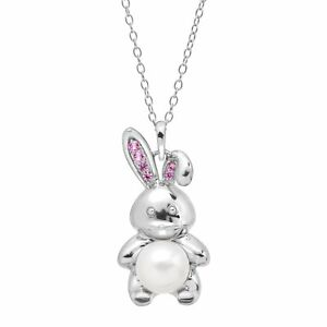 8-mm-Freshwater-Pearl-amp-1-8-ct-Created-Pink-Sapphire-Bunny-Pendant-in-Silver