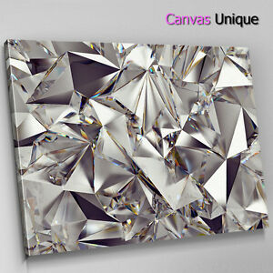 58e7c6406d3 Image is loading AB1572-silver-shiny-diamond-metal-Abstract-Canvas-Wall-