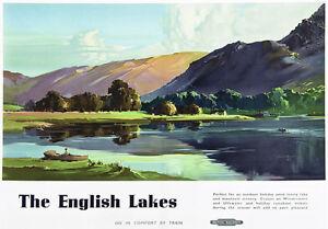 TU22-Vintage-1950-039-s-English-Lakes-Lake-District-Travel-Railway-Poster-A3-A2
