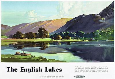 TU22 Vintage 1950's English Lakes Lake District Travel Railway Poster A3 A2