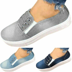 Canvas-Trainers-Slip-Casual-Sneakers-Flat-Loafers-Shoe-Denim-Pumps-Size-On-Women