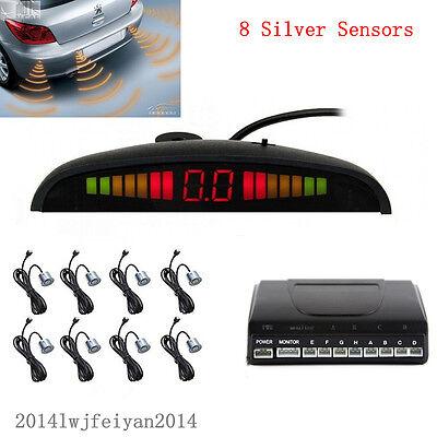 8Pcs Car SUV FRONT REAR Reverse Parking Sensors Radar Sound Alert Alarm Black