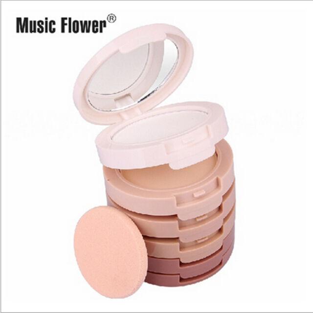 Music Flower 5 Colors in 1 Foundation Concealer Corrector Pressed Powder Make Up