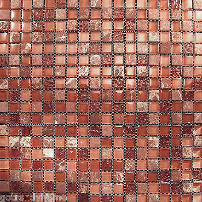 Sample- Marble  Red Pink Glass Mosaic Tile Blend For Kitchen Backsplash Bath Spa