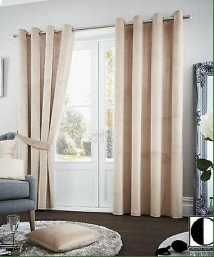 LUXURY THERMAL BLACKOUT PAIR CURTAINS READY MADE EYELET RING TOP FULLY LINED