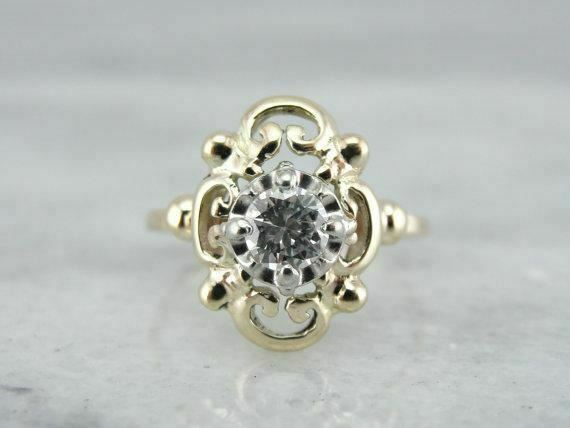 Vintage Yellow gold Scroll Work and Diamond Ladies Ring