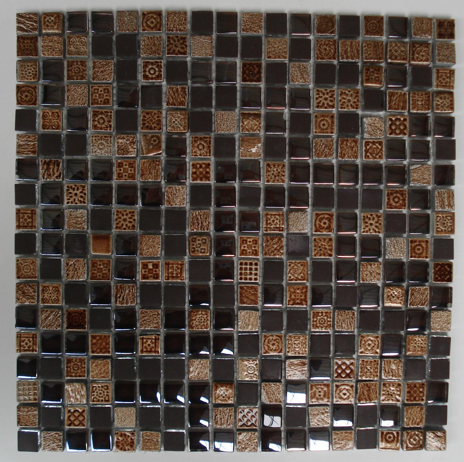 1qm Glas Keramik Mosaik Fliese braun Ornamente 30x30x0,8cm; 1,5x1,5cm Bad Küche