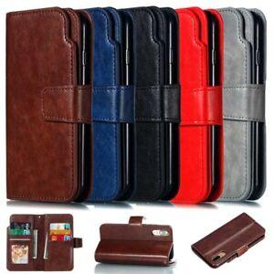 Luxe-9-Carte-Portefeuille-Cuir-Flip-Case-Cover-Pour-Huawei-P10-P20-P30-Lite-Y6-2019