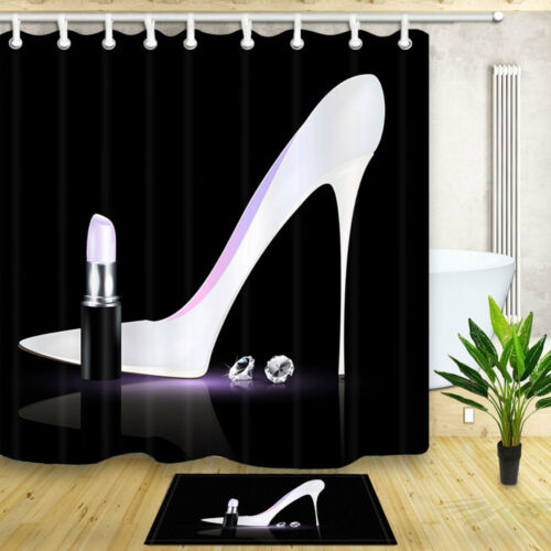 Paris Elegant White high heels Waterproof Fabric /& Hooks Bathroom Shower Curtain