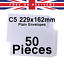 50 Pcs x C5 229x162mm Size of Half A4 Sheet Plain White 88gsm Envelopes Letter