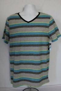 NEW-Mens-Top-T-Shirt-Size-XL-Short-Sleeve-V-Neck-Casual-Tee-Clothes-Gray-Blue-St