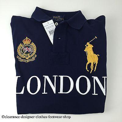 RALPH LAUREN POLO BIG PONY LONDON CITIES NAVY BLUE TOP T-SHIRT SMALL RRP £ bb3d27fce79f