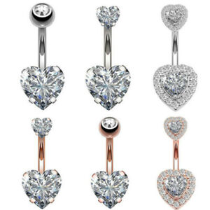 Surgical Steel Navel Belly Button Ring Barbell Rhinestone Crystal Body Piercing#
