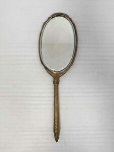Vintage Vanity Bronze Hand Mirror Makeup Beauty Tool Vanity Accessory