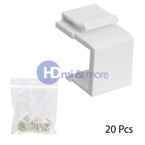 Blank Snap-in Keystone for Wall Plate Insert White 20 pieces