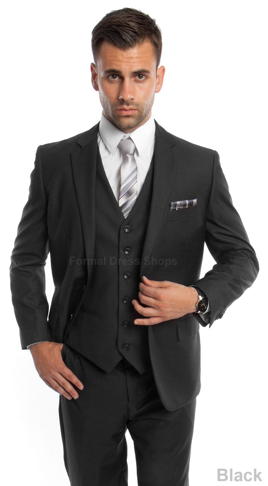 NEW 3 PIECE MEN'S SOLID SUIT FORMAL PROM DANCE PARTY WEDDING FATHER OF THE GROOM