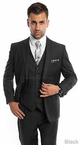 new 3 piece men s solid suit formal prom dance party wedding father