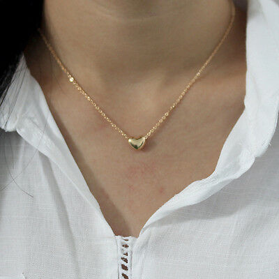 New Womens Gold Plated Heart Bib Statement Chain Pendant Necklace Jewelry Gift