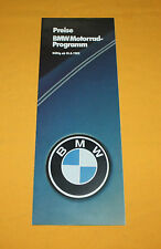 BMW Motorrad Preisliste 1982 Prospekt Brochure Depliant Catalogue R65 R80 R100