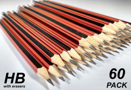 Bulk 60 Pack HB Lead Pencils with Erasers Red Stripe Barrel