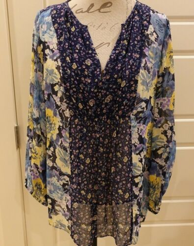 Joie - Blue and yellow floral tunic - Semi Sheer S