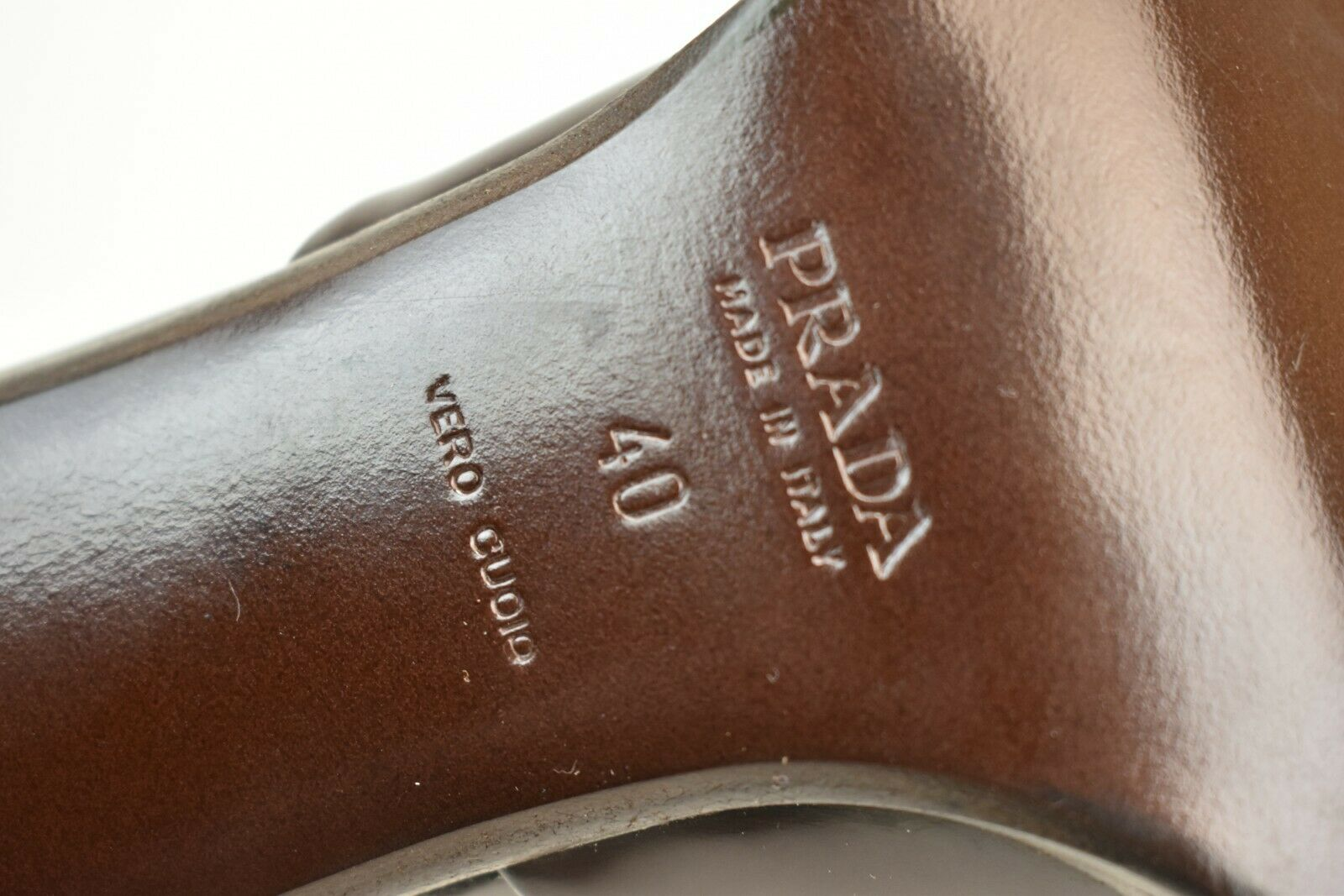 Prada Marron Chocolat Cuir Poli Cheville Sangle D'ORSAY classique classique classique Pompes 110 40 2aad7e