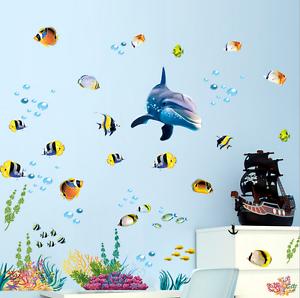 Wandtattoo Unterwasser Welt Delphin Aufkleber Wandsticker Kinder