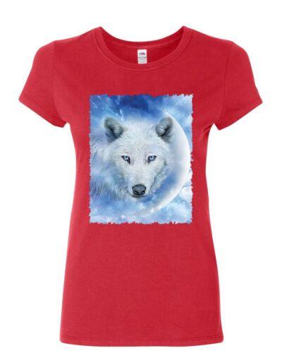 White Wolf Women/'s T-Shirt Wildlife Animal Moon Howl Nature Wolfpack Shirt