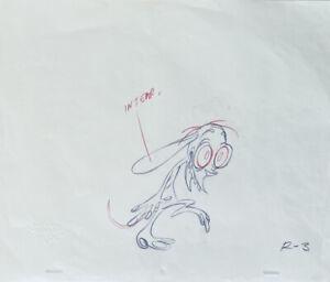 Ren & Stimpy Original 1990's Production Cel Drawing Bent Walk