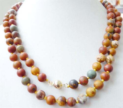 """14K Clasp Natural 8mm Multicolor Picasso Jasper gem Round Beads Necklace 36"""" AAA"""