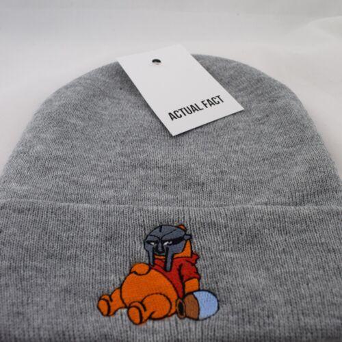 Véritable Fact MF Doom Masque X brodé Pooh Hip Hop Roll Up Gris Bonnet