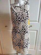 NEW Alice + Olivia EMBROIDERED LACE BLACK/NUDE ELEGANT DRESS SIZE 8