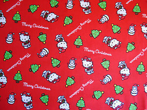 Hello Kitty Merry Christmas.Details About Quilt Cotton Fabric Licensed Hello Kitty Merry Christmas By Sanrio Half Yard