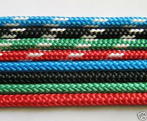 "Polyester braidonbraid rope 6mm 14"" blue green black red, yachting equestrian"