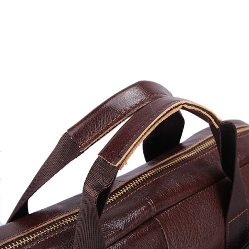 Vintage Genuine Cowhide Leather Handbag Mens Briefcase Laptop Tote Shoulder Bag