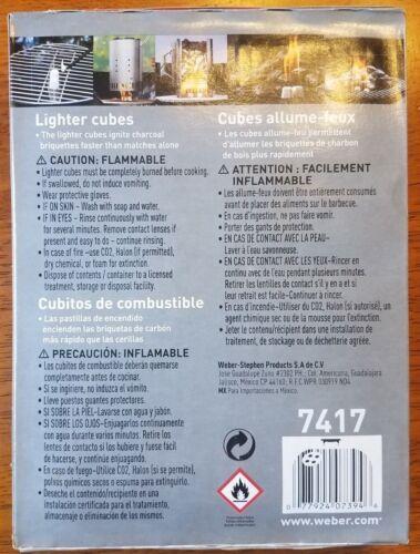 Smokeless Odorless Burns wet Weber Fire Starter Lighter Cubes 24 pack