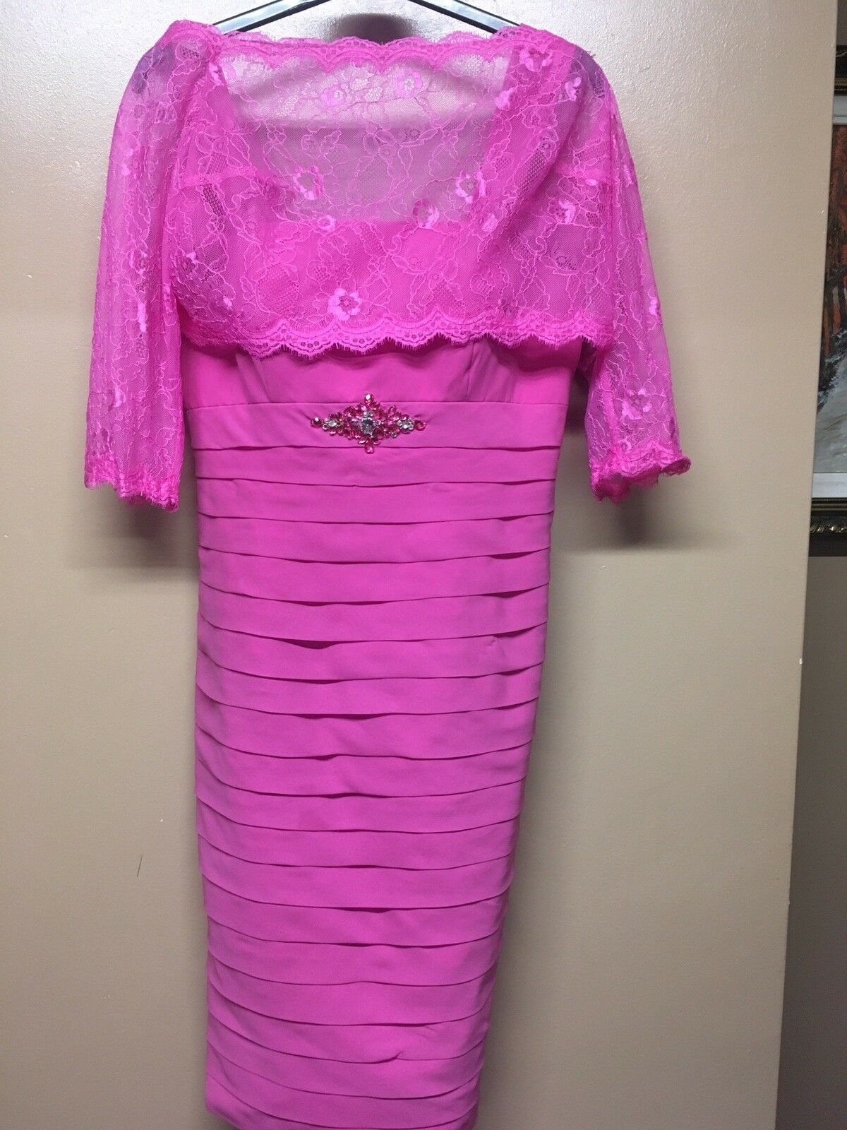 Wedding Guest/ Mother Of The Bride Fuchsia Dress With Pink Lace Short Balero.