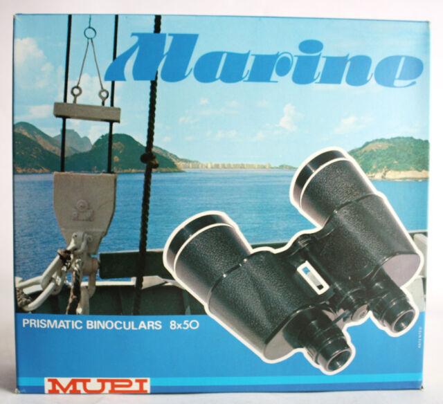 VINTAGE 70'S MARINE PRISMATIC PLASTIC BINOCULARS 8X50 MUPI MADE IN ITALY NEW MIB