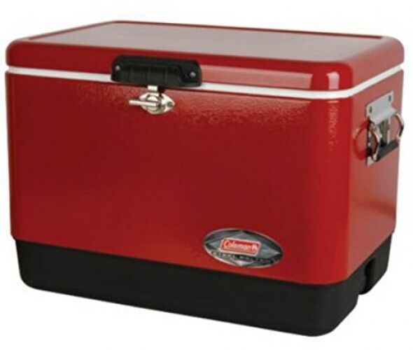 Sports and Outdoors, Camping and Hiking,54-Quart Steel-Belted Cooler, rot