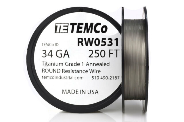 TEMCo Titanium Wire 30 Gauge 25 FT Surgical Grade 1 Resistance AWG ga