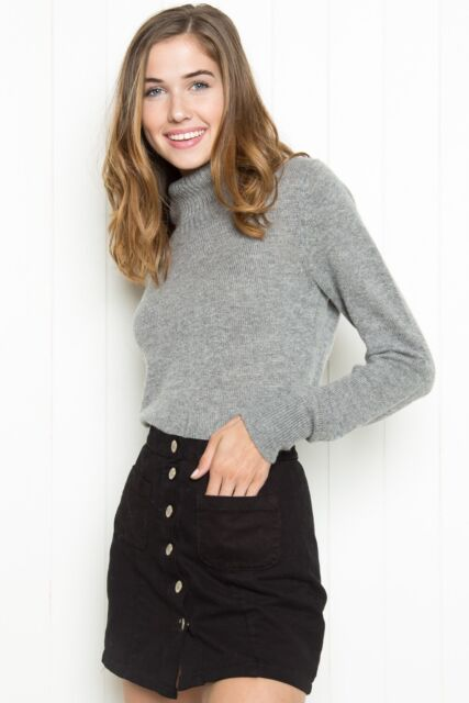 Brandy Melville Heather Gray Fuzzy Ribbed Cassia Turtleneck Sweater S/M Nwt by Ebay Seller