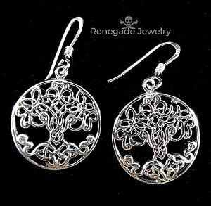 New 925 Sterling Silver Celtic Knot Tree of Life Drop Earrings