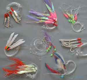 5 Packs Mackerel Feathers Bass Cod Lure Lures Sea Fishing Rigs Tackle Boat