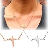 Edelstahl Herz Halskette Damen Herzschlag Puls Rythmus Frequenz Anhänger Liebe